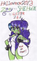 Halloween 2013: Zoey as She-Hulk by gilster262