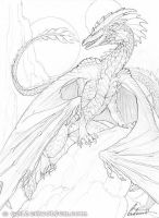 Perched Dragon Drawing by Goldenwolf