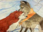 Balto and Jenna in the snow by Alyssaeve