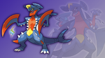 Gible, Gabite, Garchomp, and Mega Wallpaper by Glench