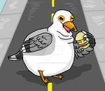 Big Fat Seagull in the Middle of the Road by rattyratterooze
