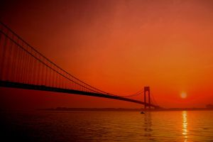 Red Sky Over NY by Doumanis