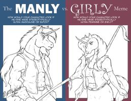 Manly vs Girly by darksteelLycaon