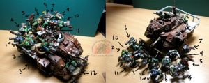 Orks on a Russ-Battlewagon by Snowfyre