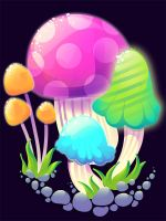 Tutorial: Mushrooms by marywinkler