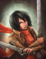 Attack on Titan - Mikasa by ChantDeLaCorneille