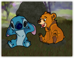 Stitch Meets Koda by andy-pants