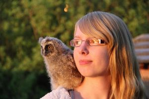 me and a little long-eared owl by cola93
