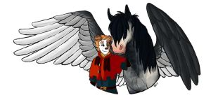 Commission - Ligo and his Pegasus by Viccinor