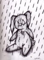 bunny in the rain by Evil-Peanut