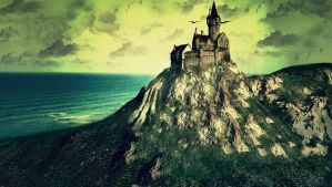 Castle Landscape by RedHeadLilith