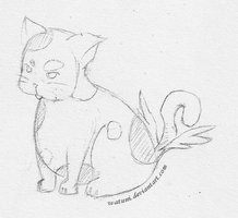 Tutu the flying fat cat sketch for Capt Terror by watuni