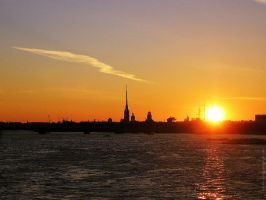 Sunset over St. Petersburg by michaelosipov