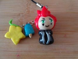 Axel Chibi (Kingdom Hearts) Phone Strap by LoekazCharms