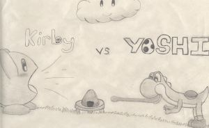 Kirby vs. Yoshi by Silverkitty779