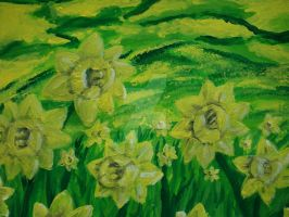 Day 3: Yellow - A Field of Daffodils by RuneWolfe13