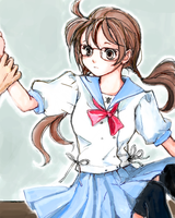 school girl with glasses by undo-Ando-and