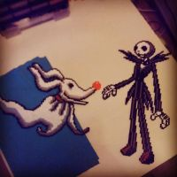 nightmare before christmas zero and jack - perler by staubtaenzerin