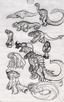 New Kaiju Scribbles by Vagrant-Verse