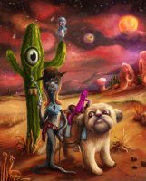 Slimy Cowgirl and gang in space by gagatka27
