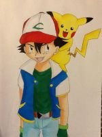 Ash and Pikachu x3 by oOkikiOo
