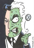 Two-Face Sketch Card by thecheckeredman