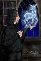 Snape with patronus by MadelineSlytherin