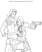 Chris and Jill FTW_Lineart by Anko-sensei
