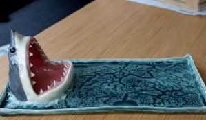 Shark Plate, New Glaze! by aviceramics