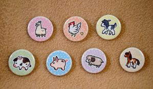 I Heart Farm Animal Button Set by pookat