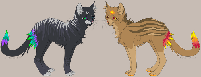 Sun and Moon Cat Adoptables -CLOSED- by wolfkittyadopts