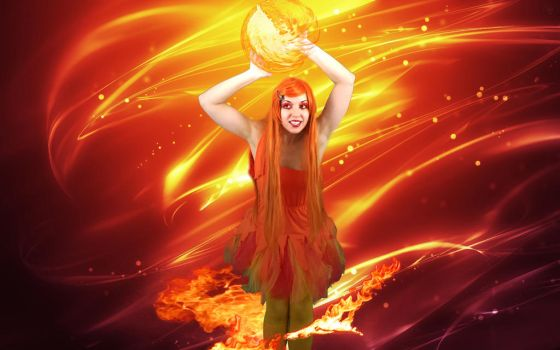 Calcifer Playing with fireballs by IceDragonCosplay