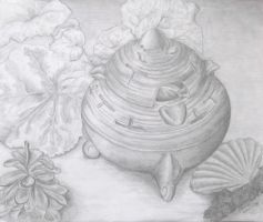 Pots and leaves by Christina-The-Weird