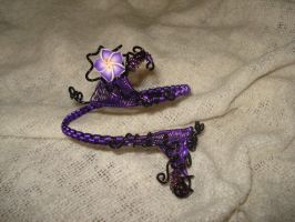 Black And Purple Adjustable Flower Cuff by Toowired