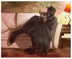 Cuddling on the Couch by shorty-antics-27