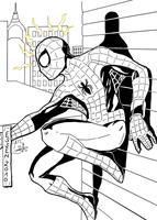 Spider-Man - only Inks by me by BouncieD
