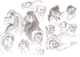 lion king faces by Polarliger