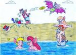 Rescuers at the beach by Jose-Ramiro