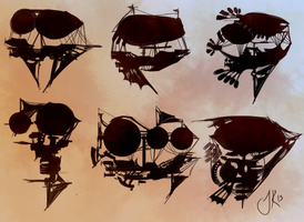 Airship Sketches by Jack-Kaiser
