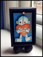 Robot with heart small size by sillysarasue