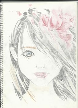 Girl with flowers by iNf3ctedRa1N