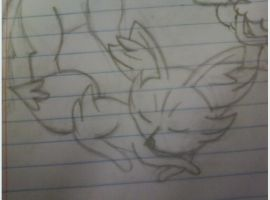 School Doodles 2 of 4 - Sleeping Fennekin by Cody2897