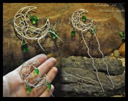 Celtic moon - hairpin by Laurefin-Estelinion