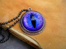 Glowing Violet Dragon Eye Pendant by LadyPirotessa