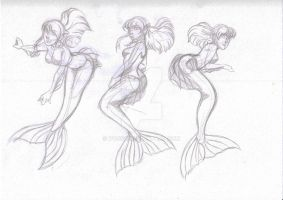 Mermaid Sketches by Vossy