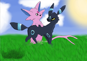 Espeon and Umbreon - Coloured. by Derial-T