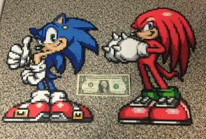 Sonic and Knuckles bead sprites by jnjfranklin