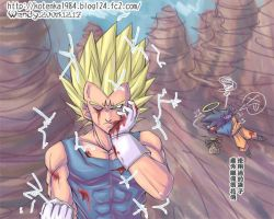 majin vegeta and faint goku by kotenka1984