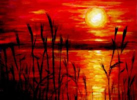 Sunset acrylic painting by belka10