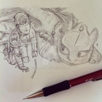 Httyd2 sketch- 'So, what should we name it?' by Sharsel